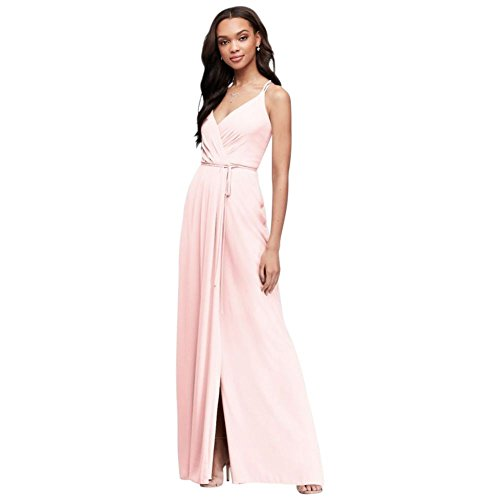 David's Bridal Double-Strap Long Georgette Bridesmaid Wrap Bridesmaid Dress Style F19755, Petal, 4