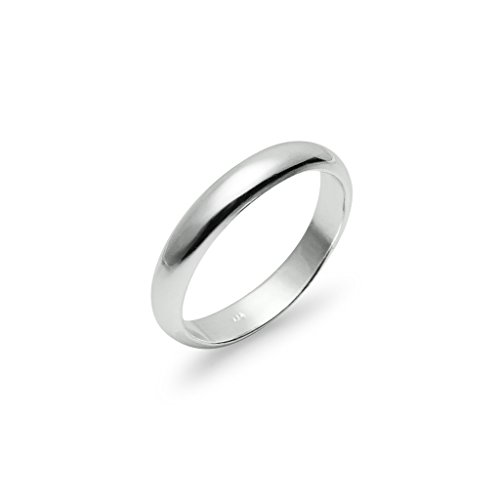 High Polish 4mm Plain Comfort Fit Wedding Band Ring Sterling Silver, Size 13