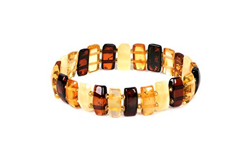 AMBERAGE Natural Baltic Amber Stretch Bracelet for Women - Hand Made from Polished/Certified Baltic Amber Beads ()