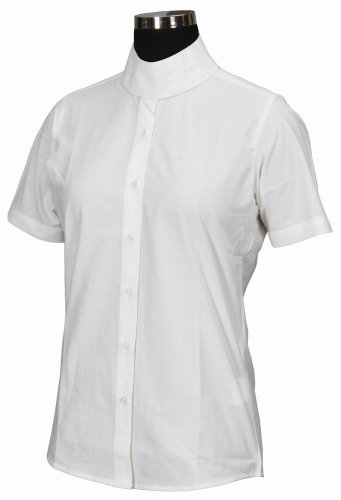 TuffRider Girl's Starter Short Sleeve Show Shirt, White, 12 (Cotton Shirt Tuffrider)