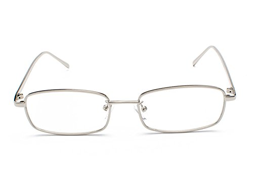 Lentes argento B8 Rectangulares Gafas Vintage Gafas Unisex UV400 Moda Retro Mujer ligero Bmeigo de Sol metálico Frame Protección x81ZTY