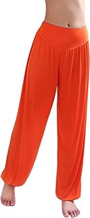 Deobox Super Soft Modal Spandex Women Harem Yoga/ Pilates Pants Orange X-Large