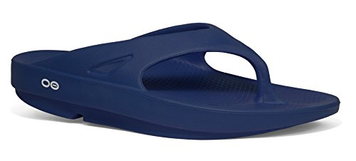 OOFOS Unisex Original Thong flip flop , Navy, 11 M US Women /  9 M US Men's