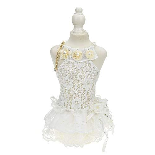- FLAdorepet White Dog Wedding Veil Dress Tutu Skirt Luxury Pearl Necklace Dress Costume for Yorkie Bulldog Pet Apparel (XL, Only Dress)