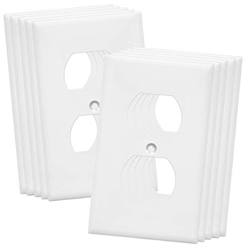 "ENERLITES Duplex Receptacle Outlet Wall Plate, Over-Size 1-Gang 5.5"" x 3.5"", Polycarbonate Thermoplastic, 8821O-W-10PCS, White (10 Pack)"