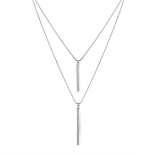 JYJ Women's Layered Pendant Necklace Multilayered Choker Necklace Round Bar Long Necklaces Y Strands (Silver-Round bar)