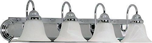 Filament Design 7777991318 4-Light Polished Vanity Light with Alabaster Glass Bell Shades, Chrome