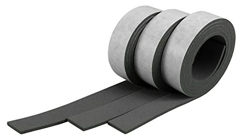 XCEL - Pure EPDM Weather Stripping Foam Rubber Tape with Adhesive, Weather Resistant, Water Resistant, 3 Strips totaling 13 Feet x 1 Inch x 1/8 Inch Made in USA