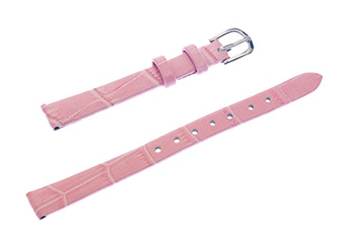 Band 10 Watch Mm (Uyoung 10mm Women's Pink Genuine Leather Crocodile Grain Thin Watch Band)