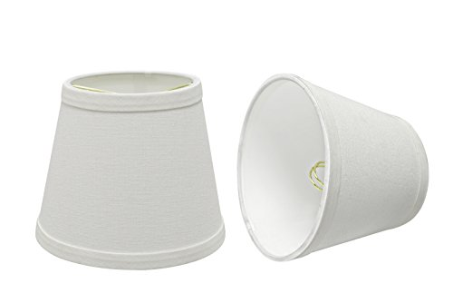 Lamp Clamp Mini (Aspen Creative 32862-2 Small Hardback Empire Shape Chandelier Clip-On Lamp Shade Set (2 Pack), Transitional Design in White, 5