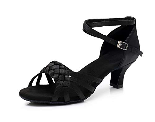 Chaussures Talon Satin Danse Élégantes Dames En Noir Haut Pour Talons Adultes Et Tissage Latine À Amérique Femme Xinguang Europe De xaEwPq4