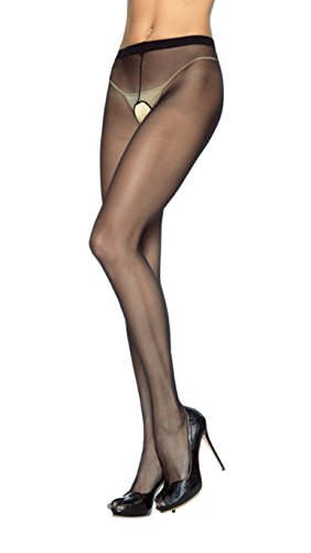 Sheer Nylon Crotchless Pantyhose (Black/One ()