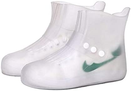 男女兼用 肥厚靴底サイズとファッションの統合PVC防水ノンスリップ靴カバー:38-39(ブラック)