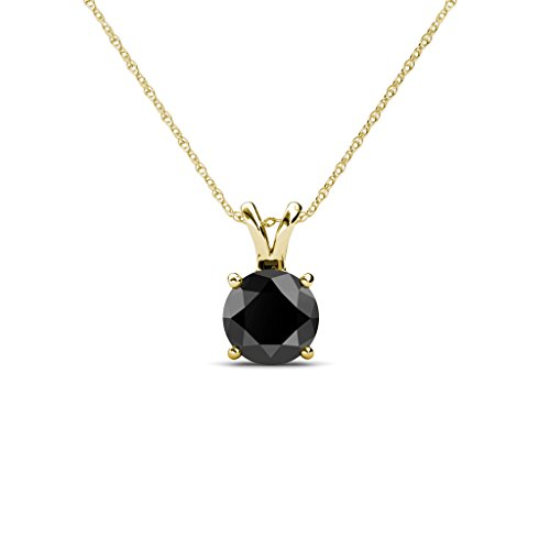 Black Diamond Round Shape Solitaire Pendant 1/2 ct in 14K Yellow Gold with 18 Inches 14K Gold Chain