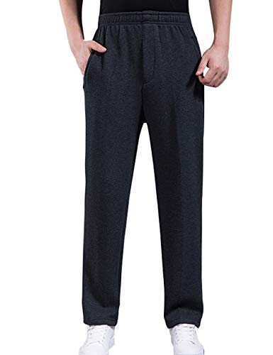 Zoulee Men's Open-Bottom Sports Pants Sweatpants Trousers Zip Fly Closure Dark Grey L