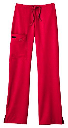 Ladies Blend - Classic Fit Collection by Jockey Women's Tri Blend Zipper Scrub Pants Medium Petite Red