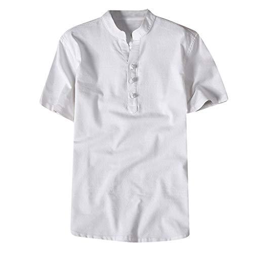 Fashion Mens Autumn Winter Button Casual Linen and Cotton Short Sleeve Blouse
