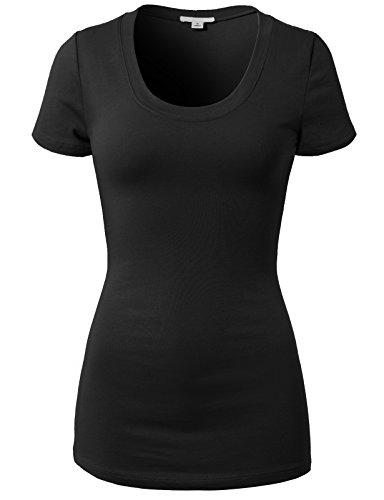 H2H Women Casual Slim Fit T-Shirt Top Cotton Short Sleeve Basic Designed - Crew/V Neck