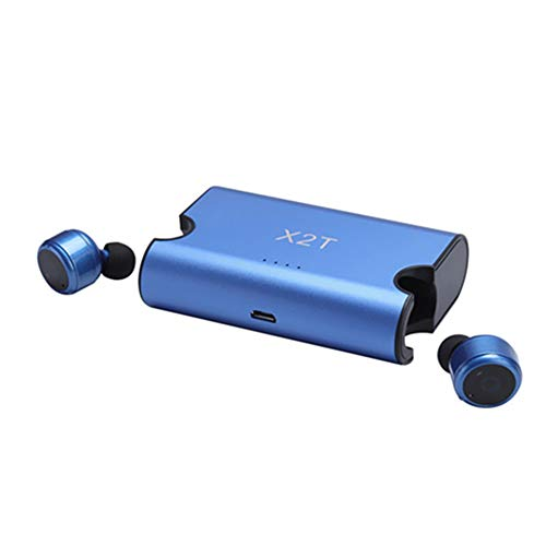 Running Wireless Bluetooth Micro Headset, YiMiky X2T Double Mini 4.2 Handsfree Stereo In Ear Outdoor Headphone Magnetic Charging Earpiece Stable Sport Earphone with 1500mAh Charge Dock For Men(Blue) by YiMiky