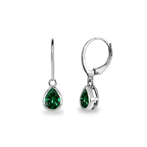 Sterling Silver Simulated Emerald 7x5mm Teardrop Bezel-Set Dangle Leverback Earrings for Women, Teen Girls ()