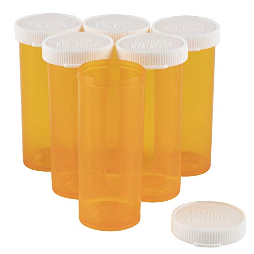 Medicine Pharmacy Pill - Prescription Bottles - 50-Pack 8-Dram Plastic Empty Pill Bottles, Prescription Vials for Pharmacy, Adults, Hospitals, 1 x 1 x 2.6 Inches