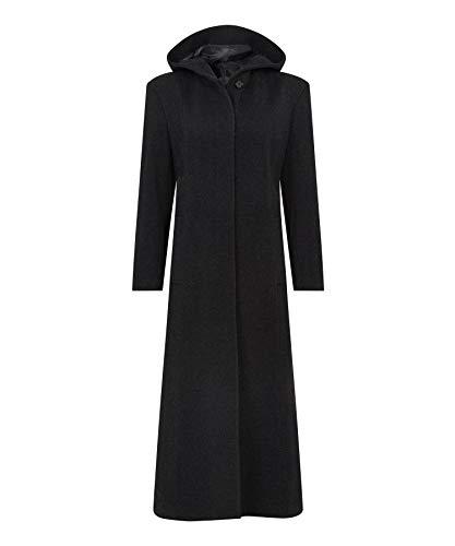 De La Creme – Black Single Breasted Detachable Fur Hood Wool Winter Trench Winter Coat Size UK 14 EUR 42 USA 10