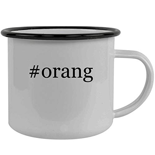 #orang - Stainless Steel Hashtag 12oz Camping Mug, Black (Fl Orange Flowers Port)
