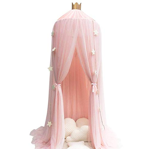 Conthfut Bed Canopy Premium Yarn Play Tent Bedding for Kids Playing Reading with Children Round Lace Dome Netting Curtains Baby Boys and Girls Games House (Pink) ()