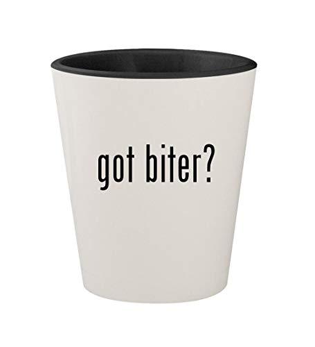 (got biter? - Ceramic White Outer & Black Inner 1.5oz Shot Glass)