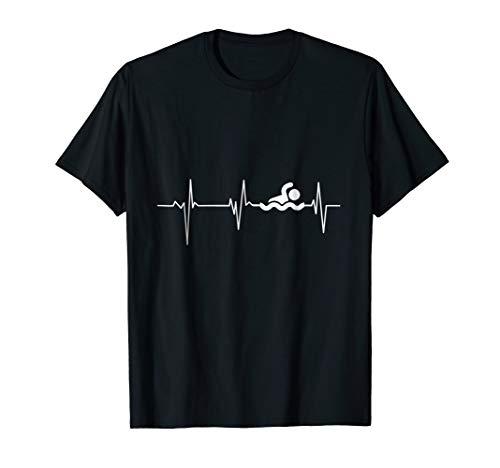 (Heartbeat Swimming T-Shirt Funny swimming shirt)