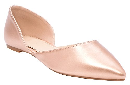 Cambridge Select Womens Closed Pointed Toe DOrsay Slip-On Ballet Flat Rose Gold Pu oUxRhccu