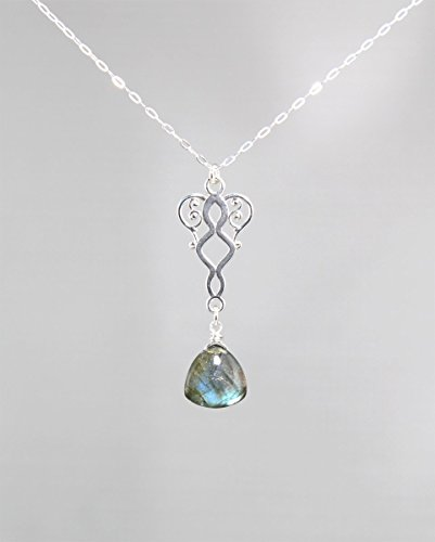 Labradorite Gemstone Minimalist Pendant Necklace with Sterling Silver Chain - 18
