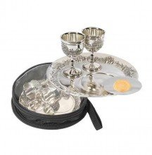 1 X Communion-Set-Silverplated Cups & Plates w/Bag