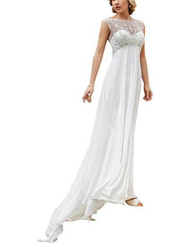 ASBridal Cap Sleeve Long Wedding Dresses Chiffon Backless Formal Bridal Gowns White US 4