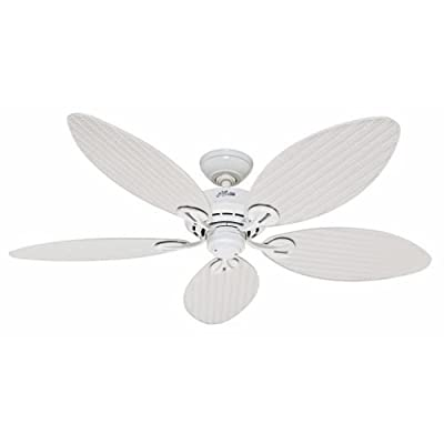 Hunter Fan Company Bayview 54-Inch ETL Damp Listed Ceiling Fan with Five White Wicker/White Palm Leaf Plastic Blades