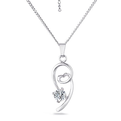 """Samie Collection Rhodium Plated Solitaire Pendant Necklaces with Round CZ, 18"""" + 2"""" Extender - Brass Estate Collection Single"""