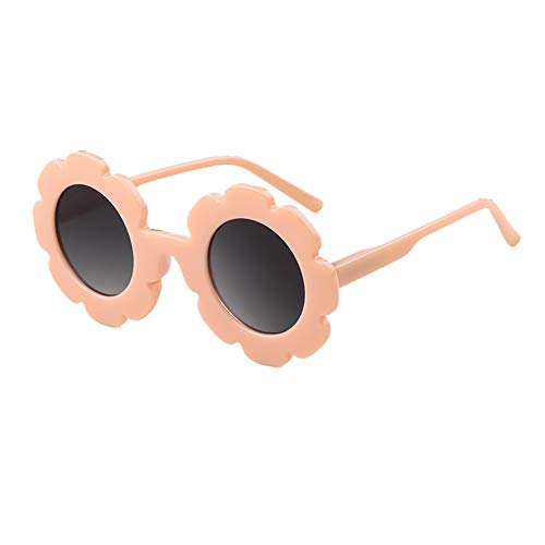 Kids Sunglasses Round Flower UV400 Protection Colorful Glasses for Children Girl Boy (Pink Grey, ()