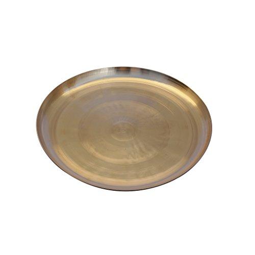 De Kulture Ayurveda Pure Kansa Bronze Dinner Fruit Platter for Health Benefit (Pure Red Round Platter)