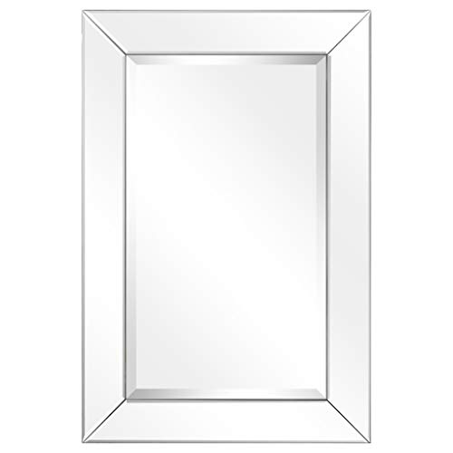 Empire Art Direct Rectangle Modern Wall Mirror with Beveled Mirror Panels Frame -