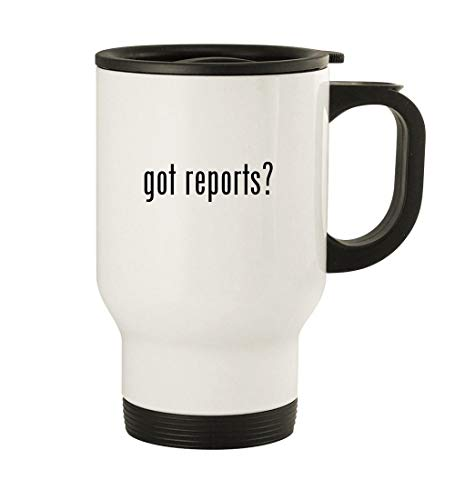 got reports? - 14oz Stainless Steel Travel Mug, White (Consumer Reports Best Microwave 2019)