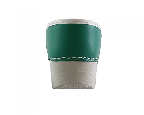 Original danClogs sabots de danemark vert/blanc en cuir véritable