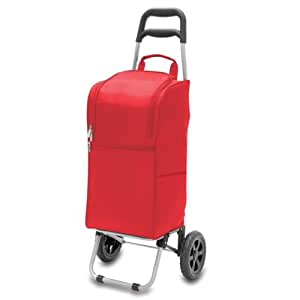 Picnic Time Insulated Cart Cooler with Wheeled Trolley, Red