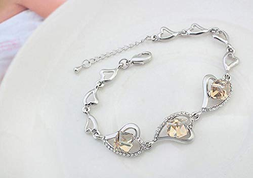 Women Elegant Leng Elegant Pretty Bracelet Fashion Women's Jewelry Heart-Shaped Extravagance Luxury Elegant Crystal Bracelet (Golden)