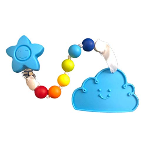 (Gumeez Teething Toy with Beaded Pacifier Clip - Multi-Colored and Multi-Surfaced (Sky The Cloud - Blue, Rainbow))
