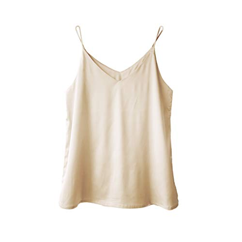 Wantschun Womens Silk Satin Camisole Cami Plain Strappy Vest Top T-Shirt Blouse Tank Shirt V-Neck Spaghetti Strap US Size XS;Champagne ()