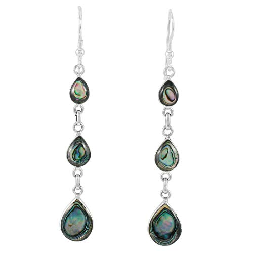 Abalone Earrings 925 Sterling Silver & Genuine Gemstones (Abalone Shell) (Chandelier)
