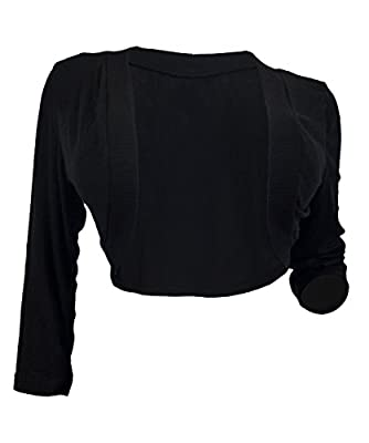 eVogues Plus Size Black 3/4 Sleeve Cropped Bolero Shrug