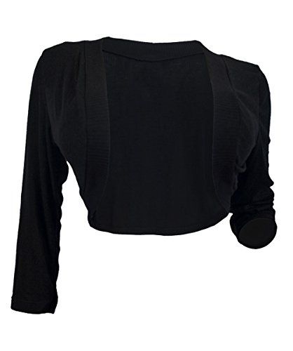 EVogues Plus Size Black 3/4 Sleeve Cropped Bolero Shrug - 3X