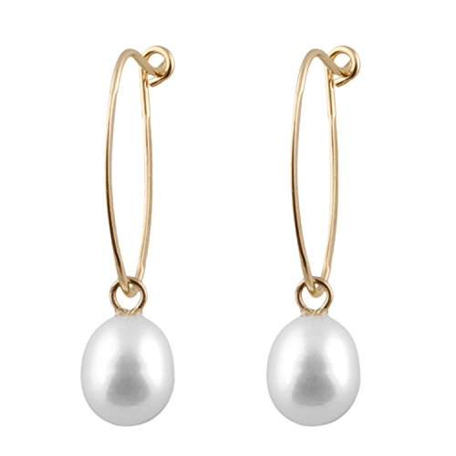 Handpicked AAA+ 5.5-6mm White Rice Freshwater Cultured Pearls in 14K Yellow Gold Dangling Hoop French Hook Earrings