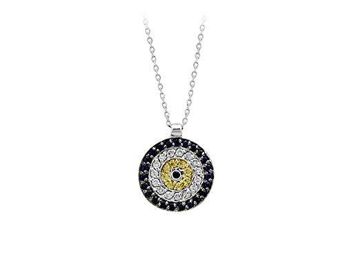 Birgie Diamants et Bijoux - Pendentif Saphir et Diamants-Femme- or Blanc 201P0018